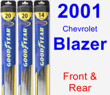 Front & Rear Wiper Blade Pack for 2001 Chevrolet Blazer - Hybrid
