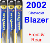 Front & Rear Wiper Blade Pack for 2002 Chevrolet Blazer - Hybrid