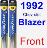 Front Wiper Blade Pack for 1992 Chevrolet Blazer - Hybrid