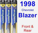 Front & Rear Wiper Blade Pack for 1998 Chevrolet Blazer - Hybrid