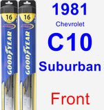 Front Wiper Blade Pack for 1981 Chevrolet C10 Suburban - Hybrid