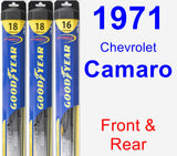 Front & Rear Wiper Blade Pack for 1971 Chevrolet Camaro - Hybrid