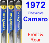 Front & Rear Wiper Blade Pack for 1972 Chevrolet Camaro - Hybrid