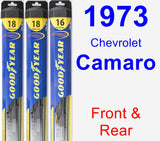 Front & Rear Wiper Blade Pack for 1973 Chevrolet Camaro - Hybrid