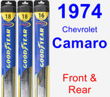 Front & Rear Wiper Blade Pack for 1974 Chevrolet Camaro - Hybrid