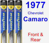 Front & Rear Wiper Blade Pack for 1977 Chevrolet Camaro - Hybrid