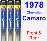 Front & Rear Wiper Blade Pack for 1978 Chevrolet Camaro - Hybrid
