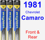 Front & Rear Wiper Blade Pack for 1981 Chevrolet Camaro - Hybrid