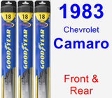 Front & Rear Wiper Blade Pack for 1983 Chevrolet Camaro - Hybrid