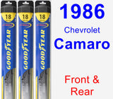 Front & Rear Wiper Blade Pack for 1986 Chevrolet Camaro - Hybrid
