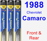 Front & Rear Wiper Blade Pack for 1988 Chevrolet Camaro - Hybrid