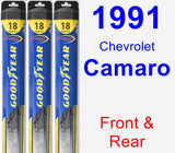 Front & Rear Wiper Blade Pack for 1991 Chevrolet Camaro - Hybrid
