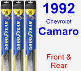 Front & Rear Wiper Blade Pack for 1992 Chevrolet Camaro - Hybrid