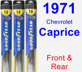 Front & Rear Wiper Blade Pack for 1971 Chevrolet Caprice - Hybrid