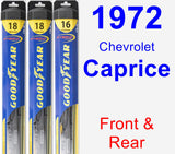 Front & Rear Wiper Blade Pack for 1972 Chevrolet Caprice - Hybrid