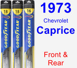 Front & Rear Wiper Blade Pack for 1973 Chevrolet Caprice - Hybrid