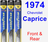 Front & Rear Wiper Blade Pack for 1974 Chevrolet Caprice - Hybrid