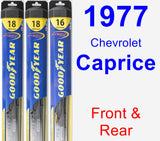 Front & Rear Wiper Blade Pack for 1977 Chevrolet Caprice - Hybrid