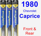 Front & Rear Wiper Blade Pack for 1980 Chevrolet Caprice - Hybrid