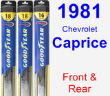 Front & Rear Wiper Blade Pack for 1981 Chevrolet Caprice - Hybrid