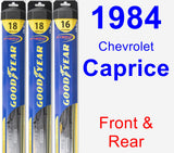 Front & Rear Wiper Blade Pack for 1984 Chevrolet Caprice - Hybrid