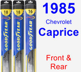 Front & Rear Wiper Blade Pack for 1985 Chevrolet Caprice - Hybrid