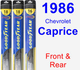 Front & Rear Wiper Blade Pack for 1986 Chevrolet Caprice - Hybrid