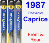 Front & Rear Wiper Blade Pack for 1987 Chevrolet Caprice - Hybrid