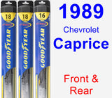 Front & Rear Wiper Blade Pack for 1989 Chevrolet Caprice - Hybrid