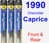 Front & Rear Wiper Blade Pack for 1990 Chevrolet Caprice - Hybrid