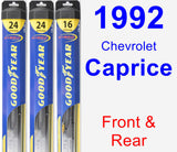 Front & Rear Wiper Blade Pack for 1992 Chevrolet Caprice - Hybrid