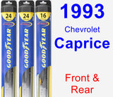 Front & Rear Wiper Blade Pack for 1993 Chevrolet Caprice - Hybrid