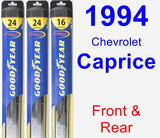 Front & Rear Wiper Blade Pack for 1994 Chevrolet Caprice - Hybrid