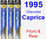 Front & Rear Wiper Blade Pack for 1995 Chevrolet Caprice - Hybrid