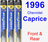 Front & Rear Wiper Blade Pack for 1996 Chevrolet Caprice - Hybrid