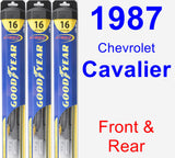 Front & Rear Wiper Blade Pack for 1987 Chevrolet Cavalier - Hybrid