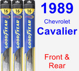 Front & Rear Wiper Blade Pack for 1989 Chevrolet Cavalier - Hybrid