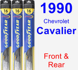 Front & Rear Wiper Blade Pack for 1990 Chevrolet Cavalier - Hybrid
