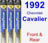 Front & Rear Wiper Blade Pack for 1992 Chevrolet Cavalier - Hybrid