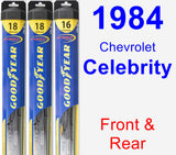 Front & Rear Wiper Blade Pack for 1984 Chevrolet Celebrity - Hybrid