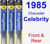 Front & Rear Wiper Blade Pack for 1985 Chevrolet Celebrity - Hybrid
