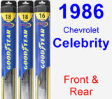 Front & Rear Wiper Blade Pack for 1986 Chevrolet Celebrity - Hybrid