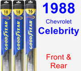 Front & Rear Wiper Blade Pack for 1988 Chevrolet Celebrity - Hybrid