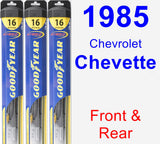 Front & Rear Wiper Blade Pack for 1985 Chevrolet Chevette - Hybrid