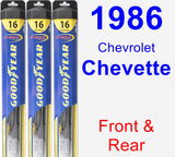 Front & Rear Wiper Blade Pack for 1986 Chevrolet Chevette - Hybrid