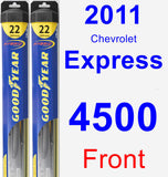 Front Wiper Blade Pack for 2011 Chevrolet Express 4500 - Hybrid