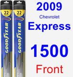 Front Wiper Blade Pack for 2009 Chevrolet Express 1500 - Hybrid