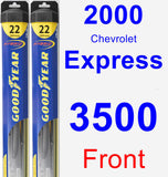 Front Wiper Blade Pack for 2000 Chevrolet Express 3500 - Hybrid