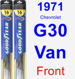 Front Wiper Blade Pack for 1971 Chevrolet G30 Van - Hybrid