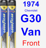 Front Wiper Blade Pack for 1974 Chevrolet G30 Van - Hybrid
